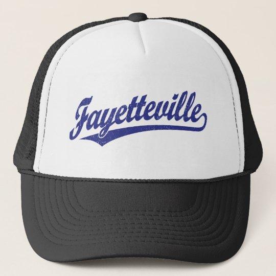 Fayetteville script logo in blue trucker hat
