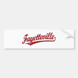 Fayetteville script logo in red car bumper sticker
