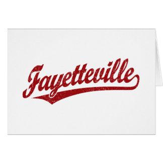 Fayetteville script logo in red card