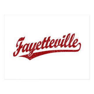 Fayetteville script logo in red postcard