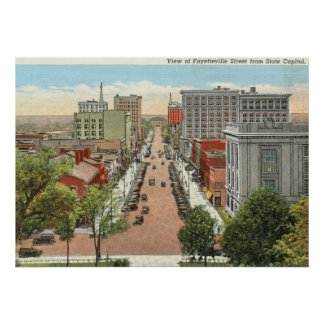 Fayetteville St., Raleigh, NC Vintage Print