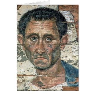 Fayum portrait of a man in a blue cloak, card