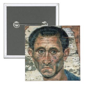 Fayum portrait of a man in a blue cloak, pinback button