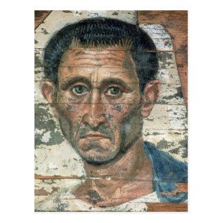 Fayum portrait of a man in a blue cloak, postcard