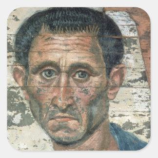 Fayum portrait of a man in a blue cloak, square sticker