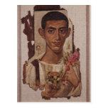 Fayum portrait of Ammonius, from Antinoe Postcard