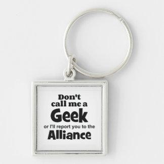 FB de Alliance del friki Llavero Cuadrado Plateado