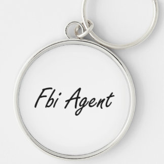 Fbi Agent Artistic Job Design Silver-Colored Round Keychain