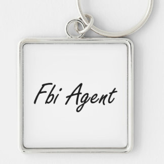 Fbi Agent Artistic Job Design Silver-Colored Square Keychain