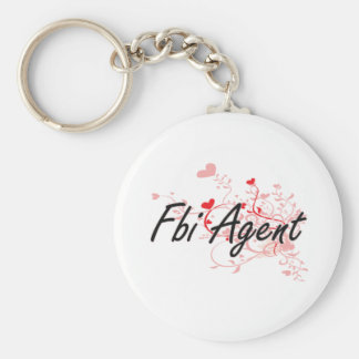 Fbi Agent Artistic Job Design with Hearts Basic Round Button Keychain