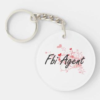 Fbi Agent Artistic Job Design with Hearts Single-Sided Round Acrylic Keychain