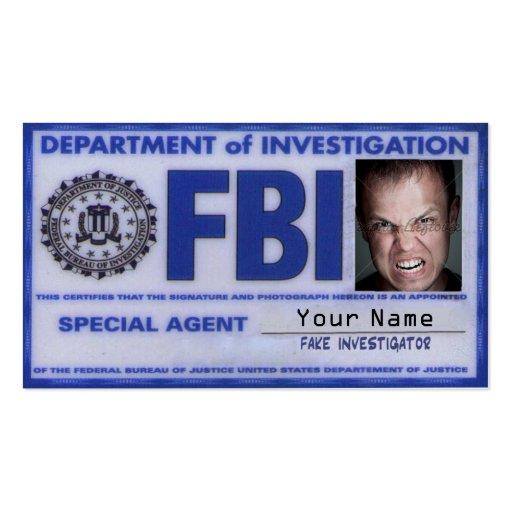 Fbi Agent Card Business Card Zazzle