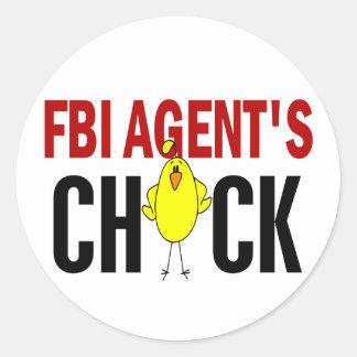 FBI Agent's Chick Round Stickers