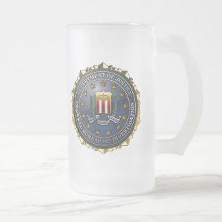 FBI Emblem Frosted Glass Beer Mug