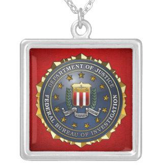 FBI Emblem Square Pendant Necklace