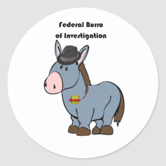 FBI Federal Burro of Investigation Donkey Cartoon Classic Round Sticker
