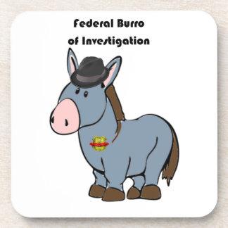 FBI Federal Burro of Investigation Donkey Cartoon Drink Coaster