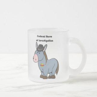 FBI Federal Burro of Investigation Donkey Cartoon Frosted Glass Coffee Mug