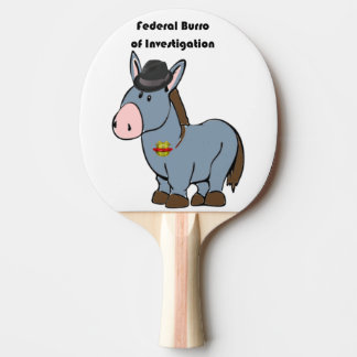 FBI Federal Burro of Investigation Donkey Cartoon Ping Pong Paddle