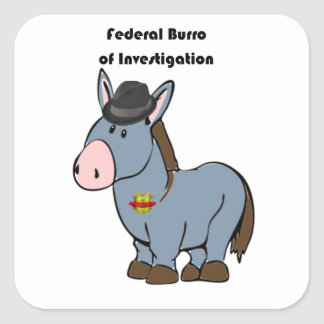 FBI Federal Burro of Investigation Donkey Cartoon Square Sticker