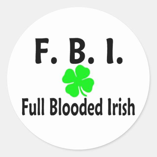 FBI Full Blooded Irish Clover Classic Round Sticker