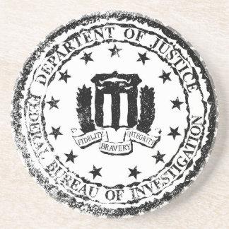 FBI Rubber Stamp Drink Coaster