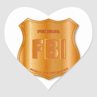 FBI Spoof Shield Badge Heart Sticker