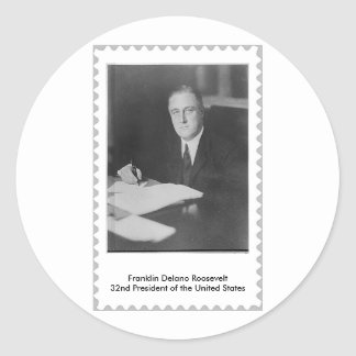 FDR 32nd President Almost a stamp. Classic Round Sticker
