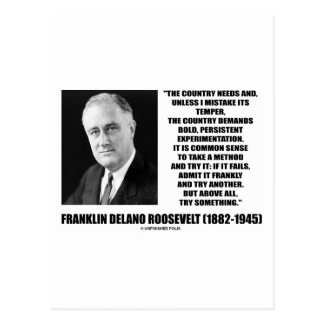 FDR Country Needs Bold Persistent Experimentation Postcard