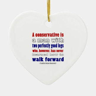 FDR Defines Conservatives Darker Double-Sided Heart Ceramic Christmas Ornament