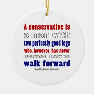FDR Defines Conservatives Darker Double-Sided Ceramic Round Christmas Ornament