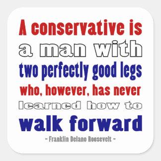 FDR Defines Conservatives Darker Square Sticker