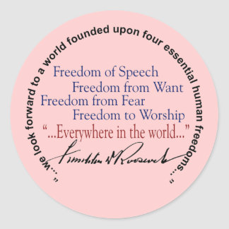 FDR Four Freedoms Tribute Classic Round Sticker