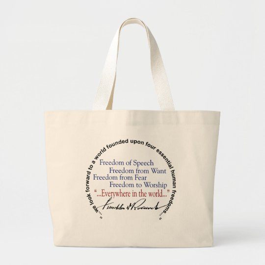FDR Four Freedoms Tribute Large Tote Bag