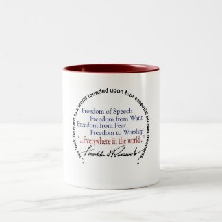 FDR Four Freedoms Tribute Two-Tone Coffee Mug