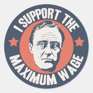 FDR Maximum Wage Classic Round Sticker