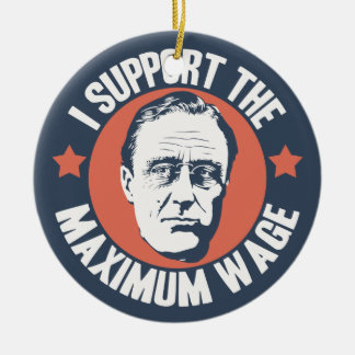 FDR Maximum Wage Double-Sided Ceramic Round Christmas Ornament