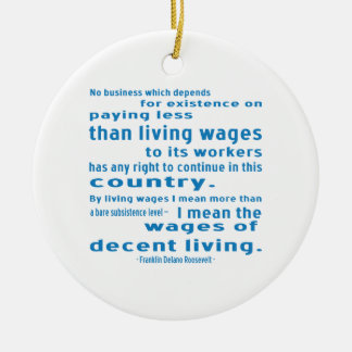 FDR on Wages Double-Sided Ceramic Round Christmas Ornament