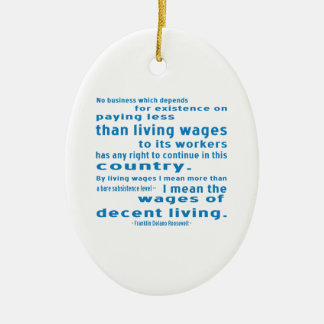 FDR on Wages Double-Sided Oval Ceramic Christmas Ornament