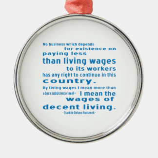 FDR on Wages Round Metal Christmas Ornament