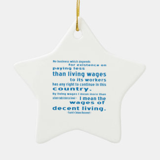 FDR on Wages Double-Sided Star Ceramic Christmas Ornament