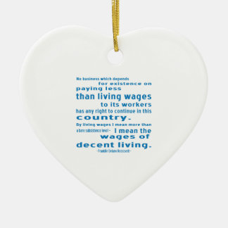 FDR on Wages Double-Sided Heart Ceramic Christmas Ornament