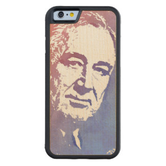 FDR Pop Art Portrait in Red and Blue Carved Maple iPhone 6 Bumper Case