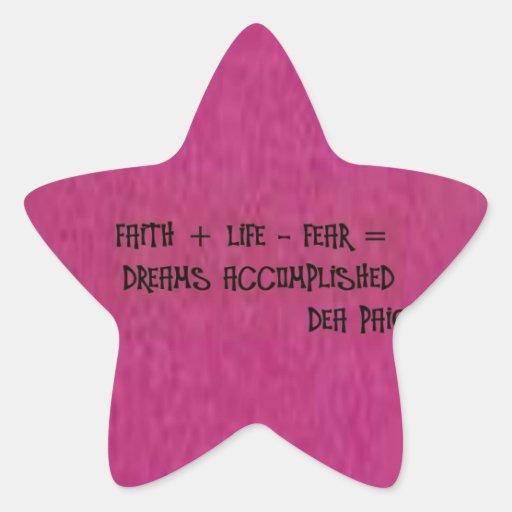 fe + amor - sueños del fear= logrados pegatina en forma de estrella