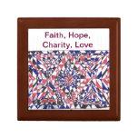 Fe, caridad de la esperanza, productos del arte de caja de joyas