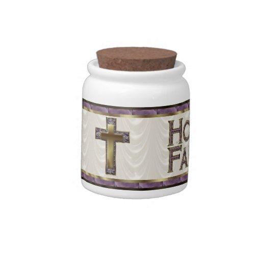 Fe de la esperanza de la cruz de la púrpura real plato para caramelo