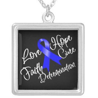 Fe de la esperanza del amor del cáncer de colon collar plateado