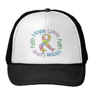 Fe del amor de la esperanza del autismo gorras