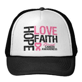 Fe del amor de la esperanza del cáncer de pecho gorras