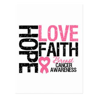 Fe del amor de la esperanza del cáncer de pecho tarjeta postal